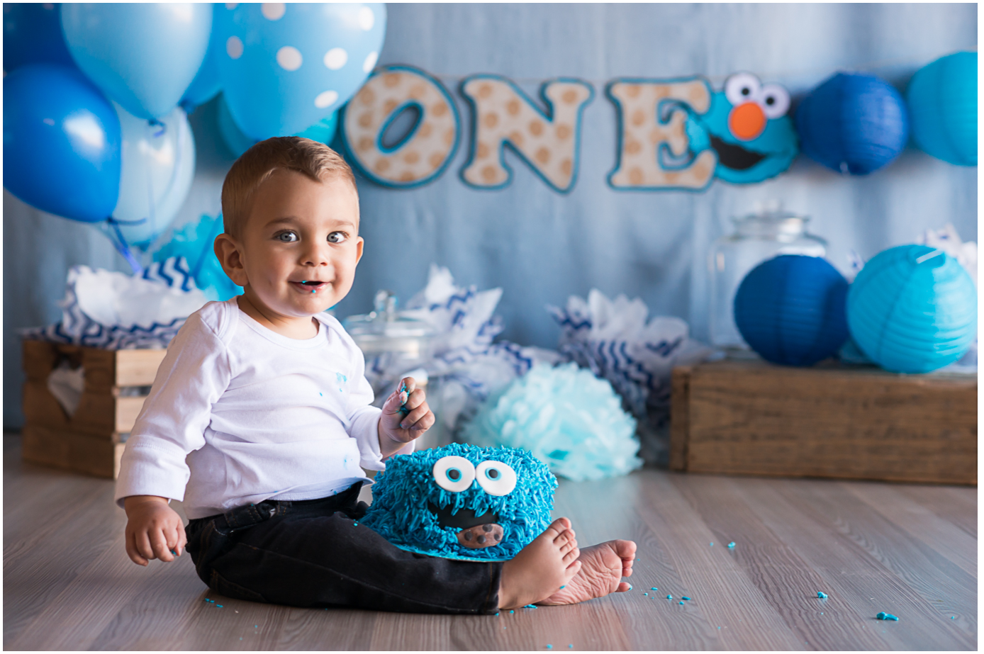 1st Birthday Outfit Boy Cookie Monster Tissino